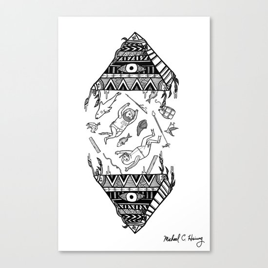 On how the mystical levitation of divers are induced by floating pyramids Canvas Print
