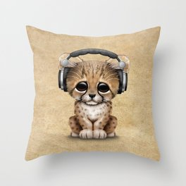 Cute Cheetah Cub Dj Wearing Headphones Throw Pillow