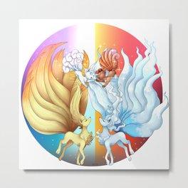 Fire Fox Ice Fox Metal Print
