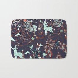 Tribal Decor Woodland Forest, Navy Blue Bath Mat