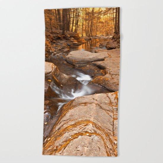Worlds End Forest Stream - Gold Rapture Beach Towel