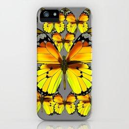 CLUSTER YELLOW-BROWN  BUTTERFLIES GREY  DESIGN iPhone Case
