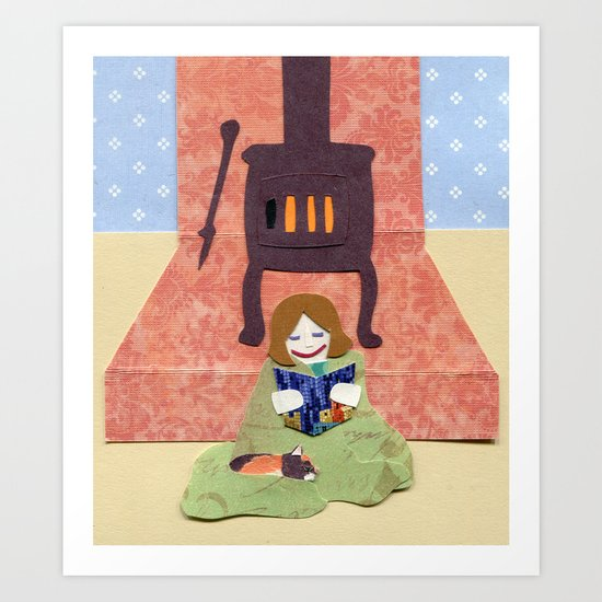 Cozy by the Fire Art Print