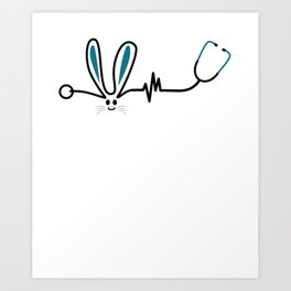 Easter nurse doctor heartbeat gift Art Print