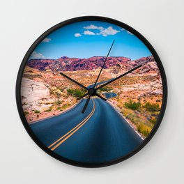 Valley of Fire panoramic road Wall Clock