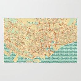 Singapore Map Retro Rug