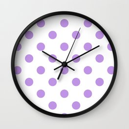 Polka Dots - Light Violet on White Wall Clock