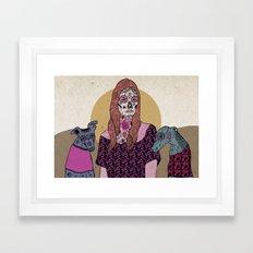 Sugar skull mermad and dogs Framed Art Print