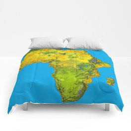 African Continent Topographical Relief Map Comforters