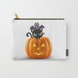Cute Halloween Cat On Halloween Pumpkins Carry-All Pouch