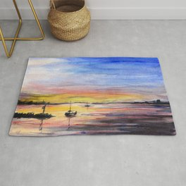 Beautiful Sunset Watercolor Painting Rug