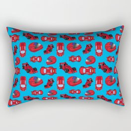 Red Motor Racing Sports Cars Racetrack Pattern Rectangular Pillow