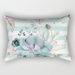 Succulent Garden Striped Succulent Blue Rectangular Pillow
