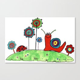 Summer Joy - Abstract Snail and Flowers Canvas Print