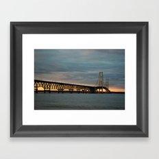 Sunset at the Mackinac Bridge Framed Art Print
