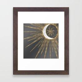 Elegant Gold Doodles Sun Moon Mandala Design Framed Art Print