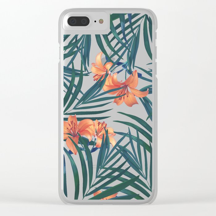 Tropical Lilies Clear iPhone Case