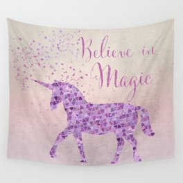 Pink and Purple Glamour Unicorn Believe in Magic Wall Tapestry