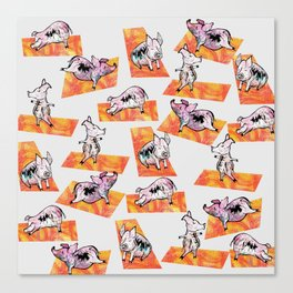 Orange Yoga Pigs - Downward Facing Hog Canvas Print