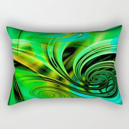 Curls Deluxe Green Rectangular Pillow