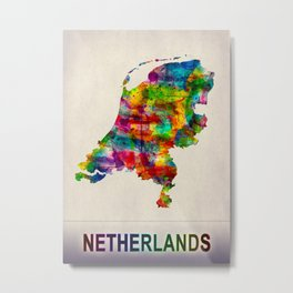 Netherlands Map in Watercolor Metal Print