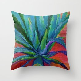 IMPRESSIONIST TURQUOISE BLUE DESERT AGAVE CACTI Throw Pillow
