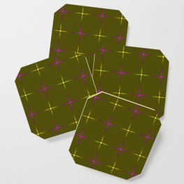 Glowing yellow and violet stars on dark gold background. Coaster