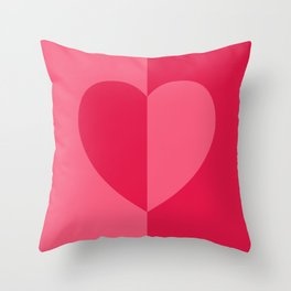 Simple Minimalist Heart Color Block Design in Bold Bright Red and Pink Rose, Minimal Scandinavian Stripes with Hearts Throw Pillow