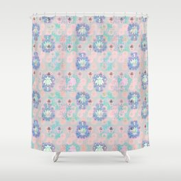 Lotus flower - powder pink woodblock print style pattern Shower Curtain