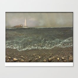 St Mary's Lighthouse Stormy Day Canvas Print