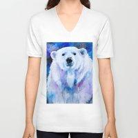 polar bear V-neck T-shirts featuring Polar bear  by Slaveika Aladjova