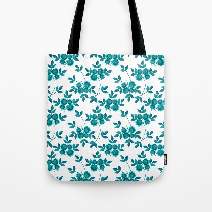 Retro .Turquoise flowers on a white background . Tote Bag
