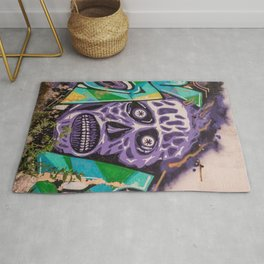 mural image of a zombie skull Rug