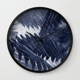 Indigo blue tropical palm leaf watercolor print Wall Clock