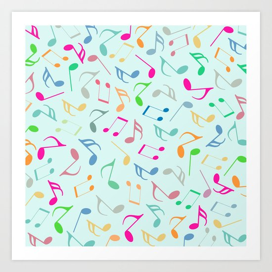 Music Colorful Notes Art Print