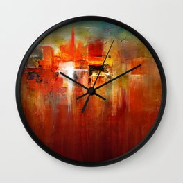 DownTown China Abstract Painting - Textured Acrylic On Canvas Wall Clock