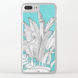 Banana Leaves Illustration - Blue Clear iPhone Case