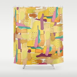 Funny hands Shower Curtain