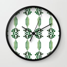 CHARLIE - Pearl and Maude | Emerald Green and White Floral Stripe Wall Clock