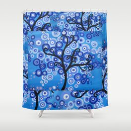 blue sea, tree of life - shades of blue with bubble leaves Shower Curtain