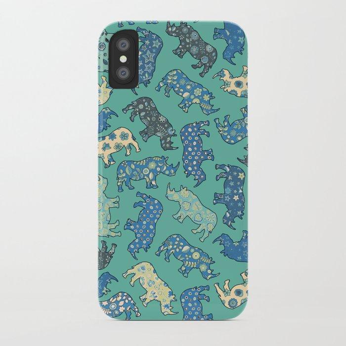 Rhino Patchwork Pattern - emerald & blue iPhone Case