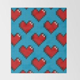 Knitted heart pattern - blue Throw Blanket