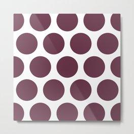 Large Polka Dots: Burgundy Metal Print