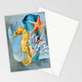 Watercolor Under Sea Collection: Seahorse Stationery Cards