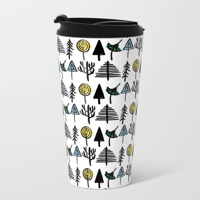 Hand drawn tree pattern Metal Travel Mug