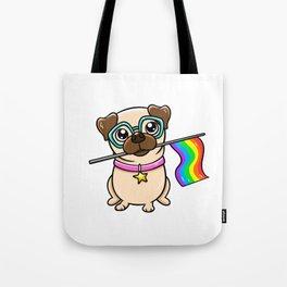 Pug Gifts Gay Pride Flag LGBT Equality graphic Love Pug design Tote Bag
