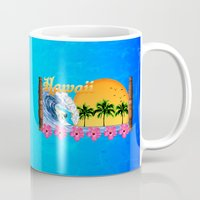 hawaiian Mugs featuring Hawaiian Surfing by MacDonald Creative Studios