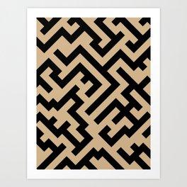 Black and Tan Brown Diagonal Labyrinth Art Print