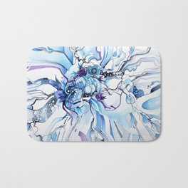 Sub-Atomic Stress Release Therapy - Blue Psychedelic Watercolor Bath Mat