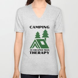 CAMPING IS CHEAPER THAN THERAPY light background Unisex V-Neck